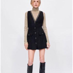 Black Zara Tweed Pinafore Dress